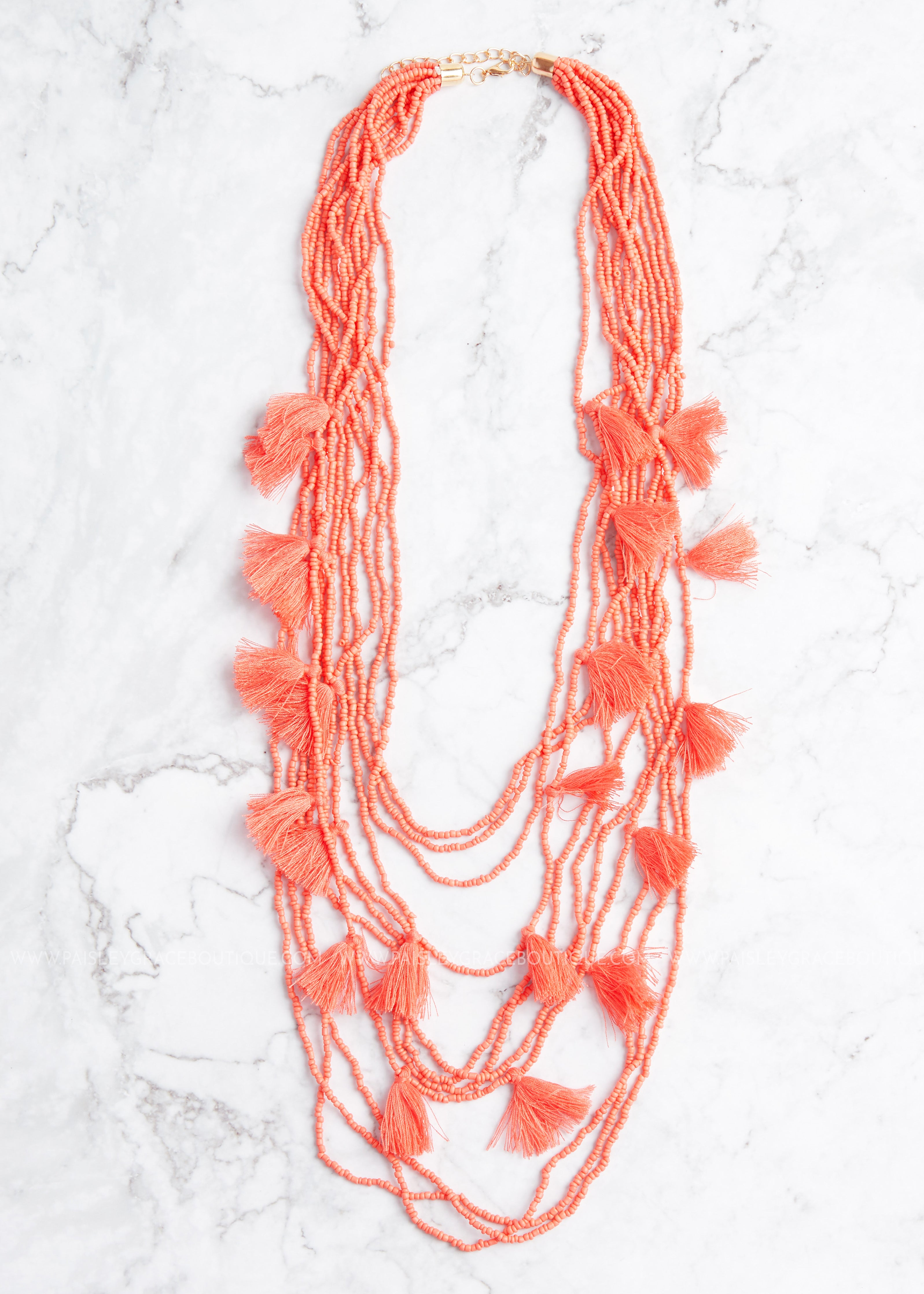 Paradise Tassel Necklace- Coral