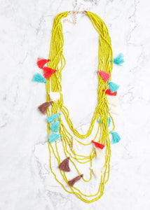 Paradise Tassel Necklace- Yellow Multi  - FINAL SALE