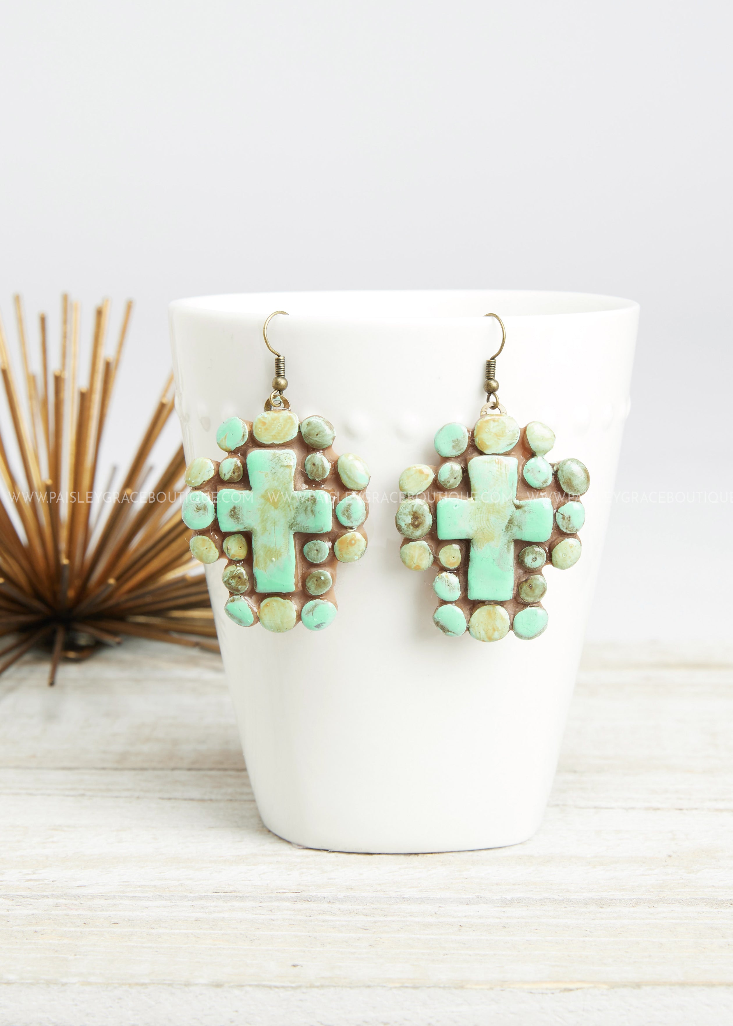 Turquoise Cross Clay Earrings