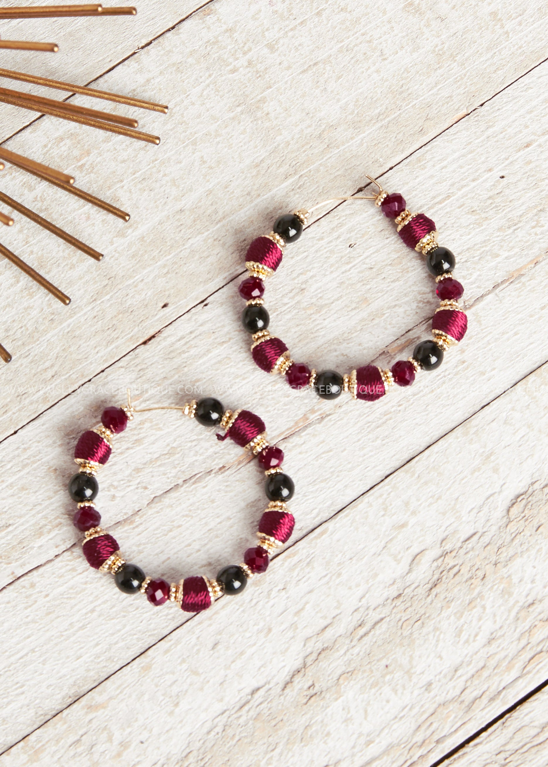 Burgundy Bead Hoop Earrings