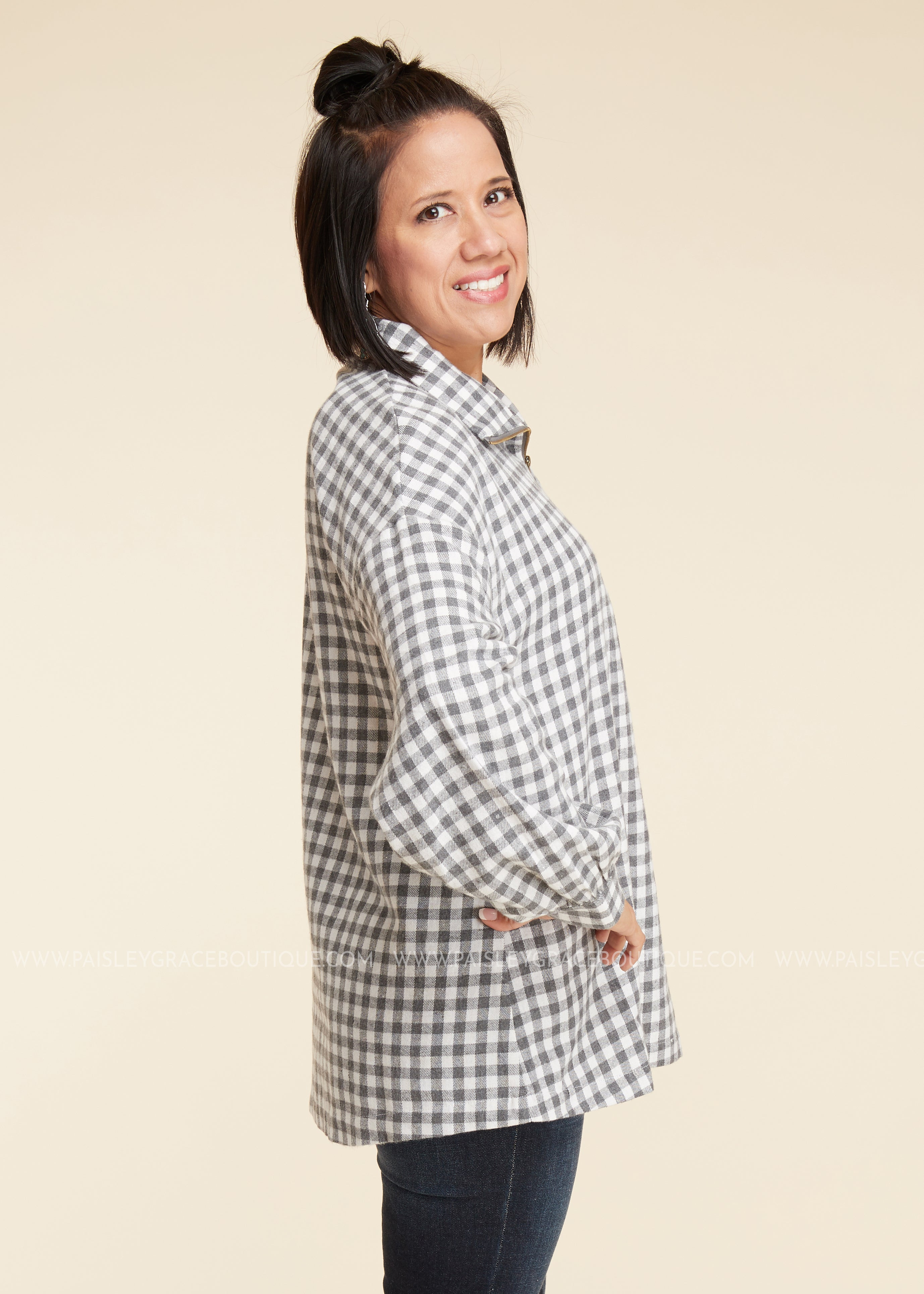 Grey Plaid Pullover
