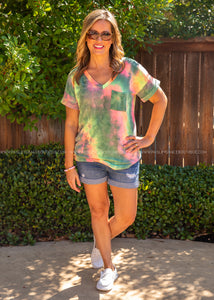 Basic Needs Tie Dye Tee- GREEN