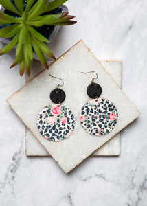Rose & Leopard Double O Earrings