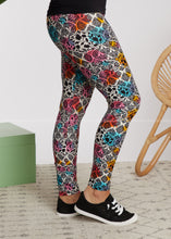 Load image into Gallery viewer, Full Length Leggings- Watercolor Damask - FINAL SALE