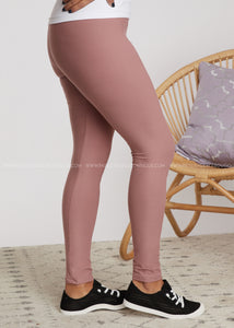 Solid Full Length Leggings - MAUVE - FINAL SALE