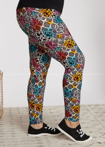 Full Length Leggings- Watercolor Damask - FINAL SALE