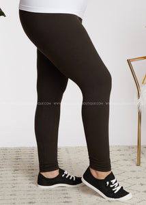 Solid Full Length Leggings- DARK BROWN  - FINAL SALE