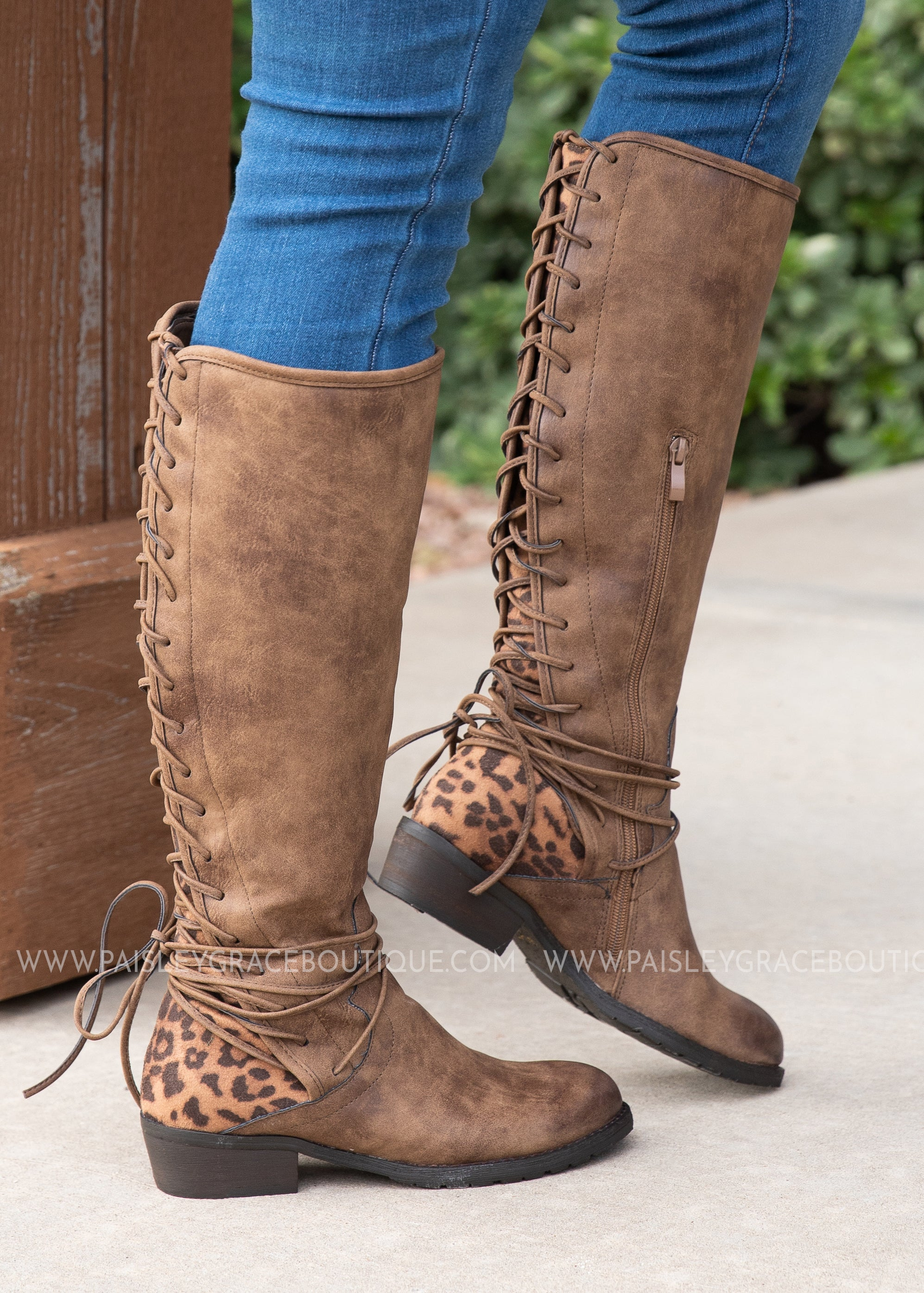 3079c04c17e6d Leopard Back Lace Boots - FINAL SALE - Paisley Grace Boutique