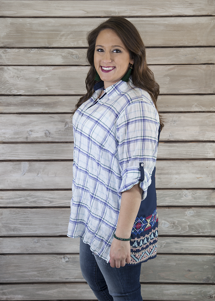Carry On - Embroidered Plaid Shirt- FINAL SALE
