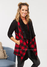 Load image into Gallery viewer, Cozy Moment Vest - Red/Black  - FINAL SALE