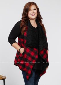 Cozy Moment Vest - Red/Black  - FINAL SALE