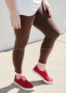Solid Full Length Leggings- MOCHA