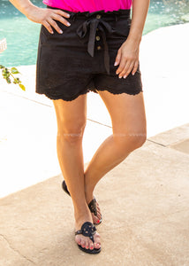 Girl Next Door Shorts- BLACK  - FINAL SALE