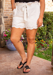 Girl Next Door Shorts- WHITE  - FINAL SALE