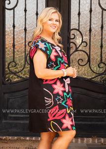 Vivid Imagination Embroidered Dress  - FINAL SALE