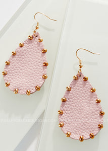 Mauve Teardrop With Gold Stud Earrings