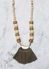Load image into Gallery viewer, Olive Tassel Wooden Bead Necklace