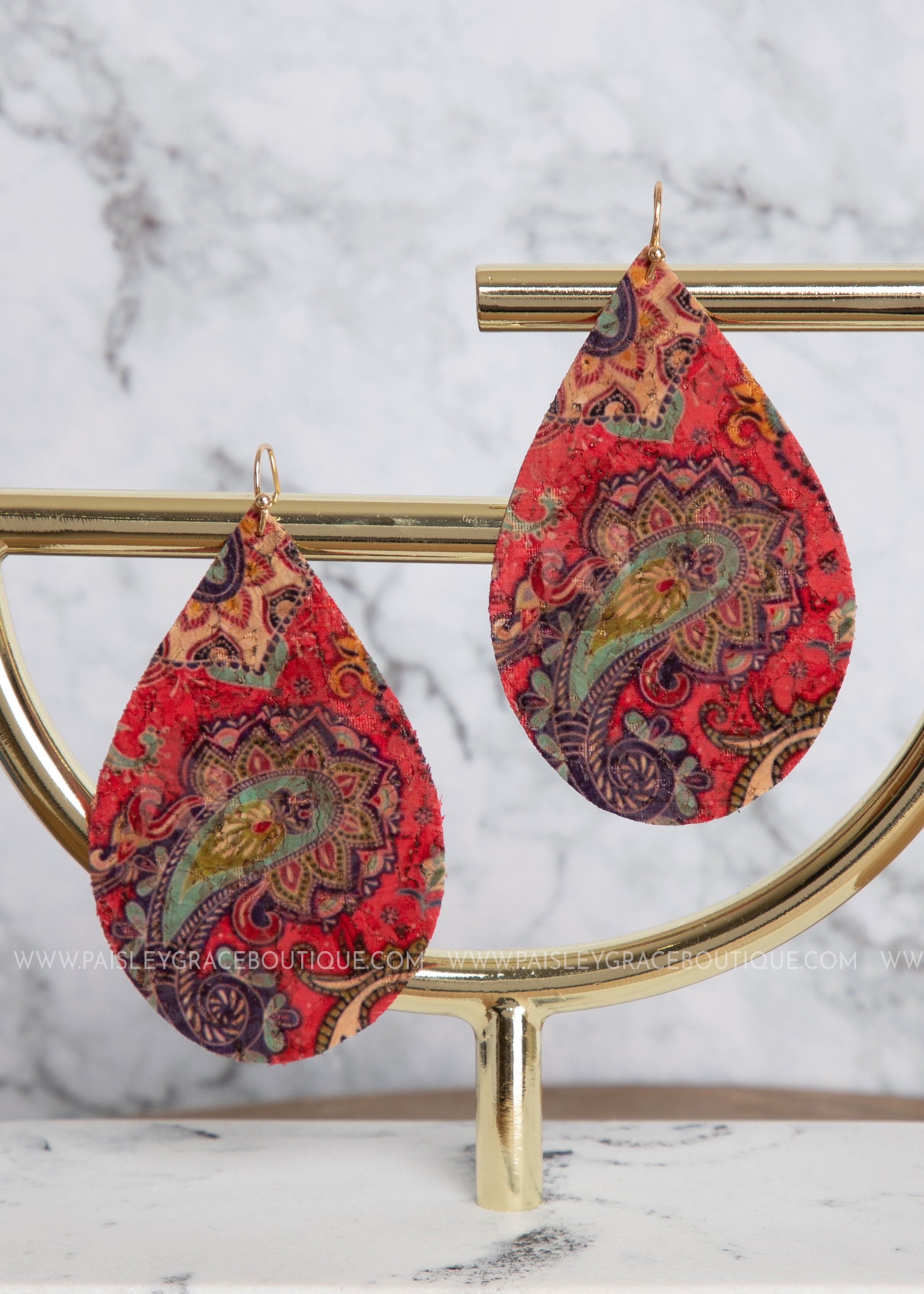 Teardrop Cork Earrings- Red Paisley