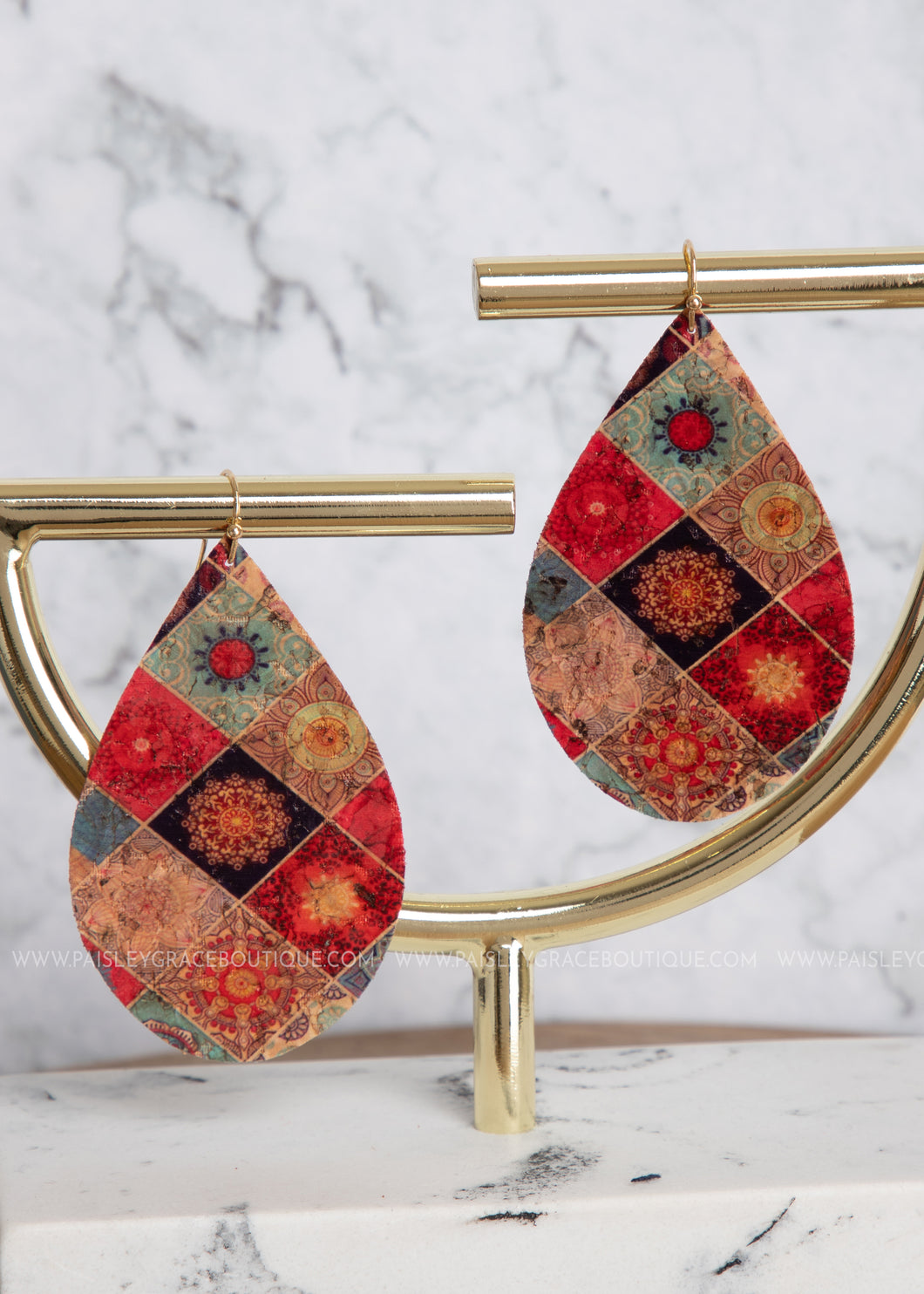 Teardrop Cork Earrings- Patchwork