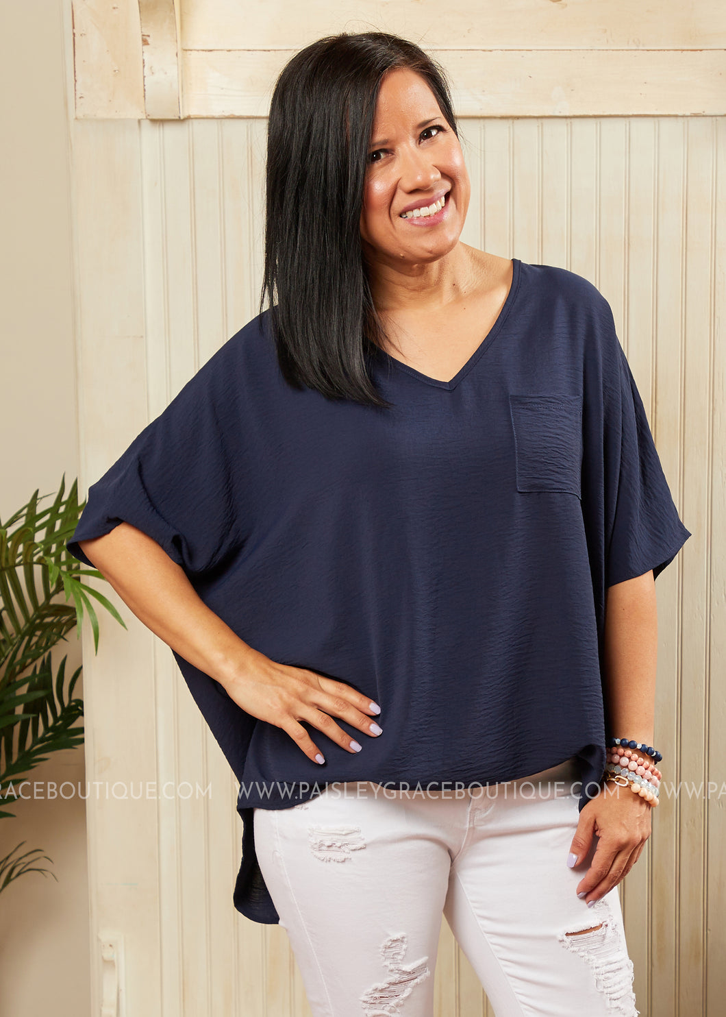 Ride The Wave Top- Navy