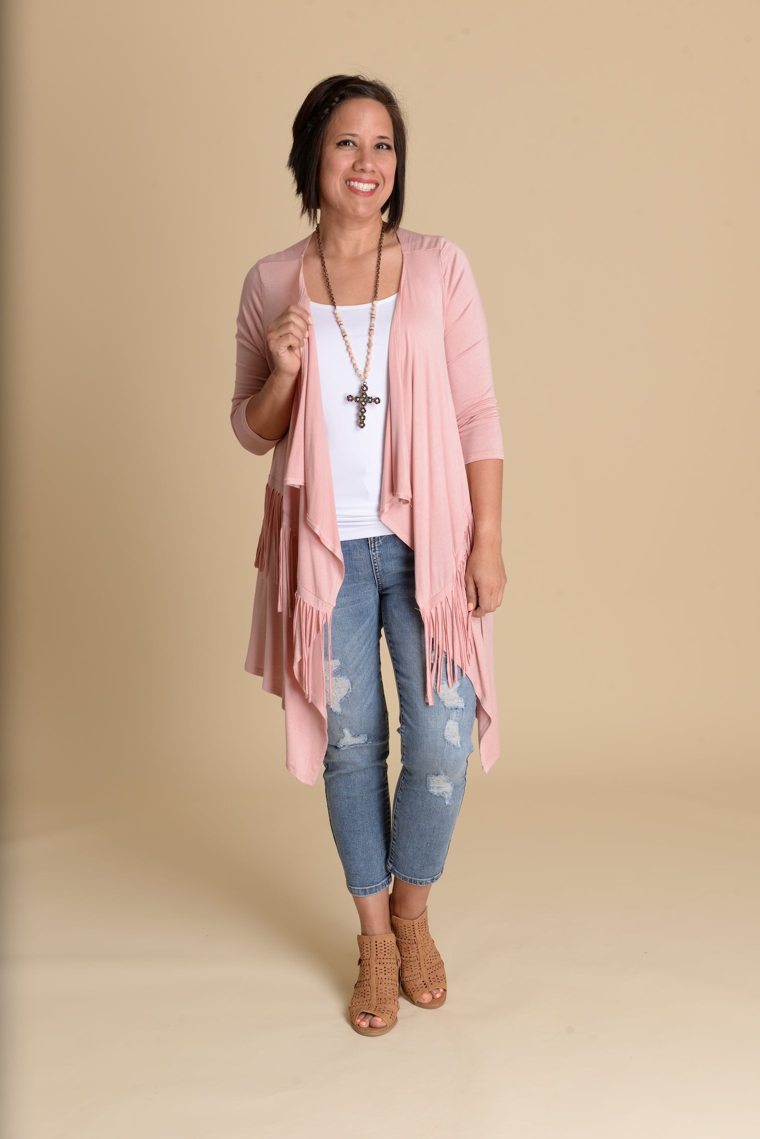 Fringe Benefits Cardigan - DUSTY ROSE-FINAL SALE