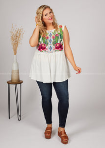 Desert Flower Embroidered Top