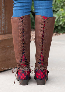Plaid Back Lace Boots - FINAL SALE