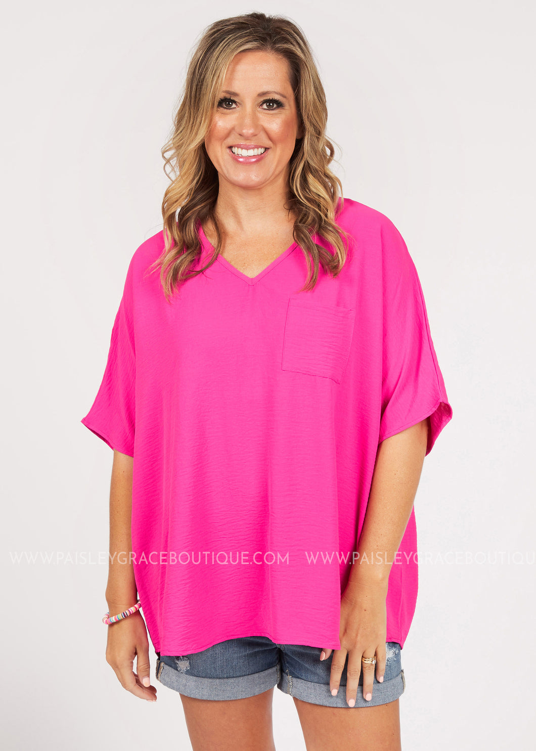 Ride The Wave Top- Pink  - FINAL SALE