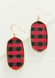 Red and Black Plaid Drop Earrings