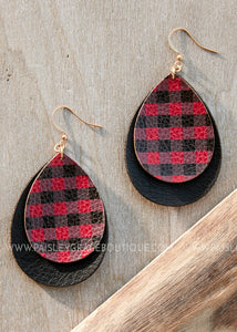 Red & Black Plaid Double Teardrop