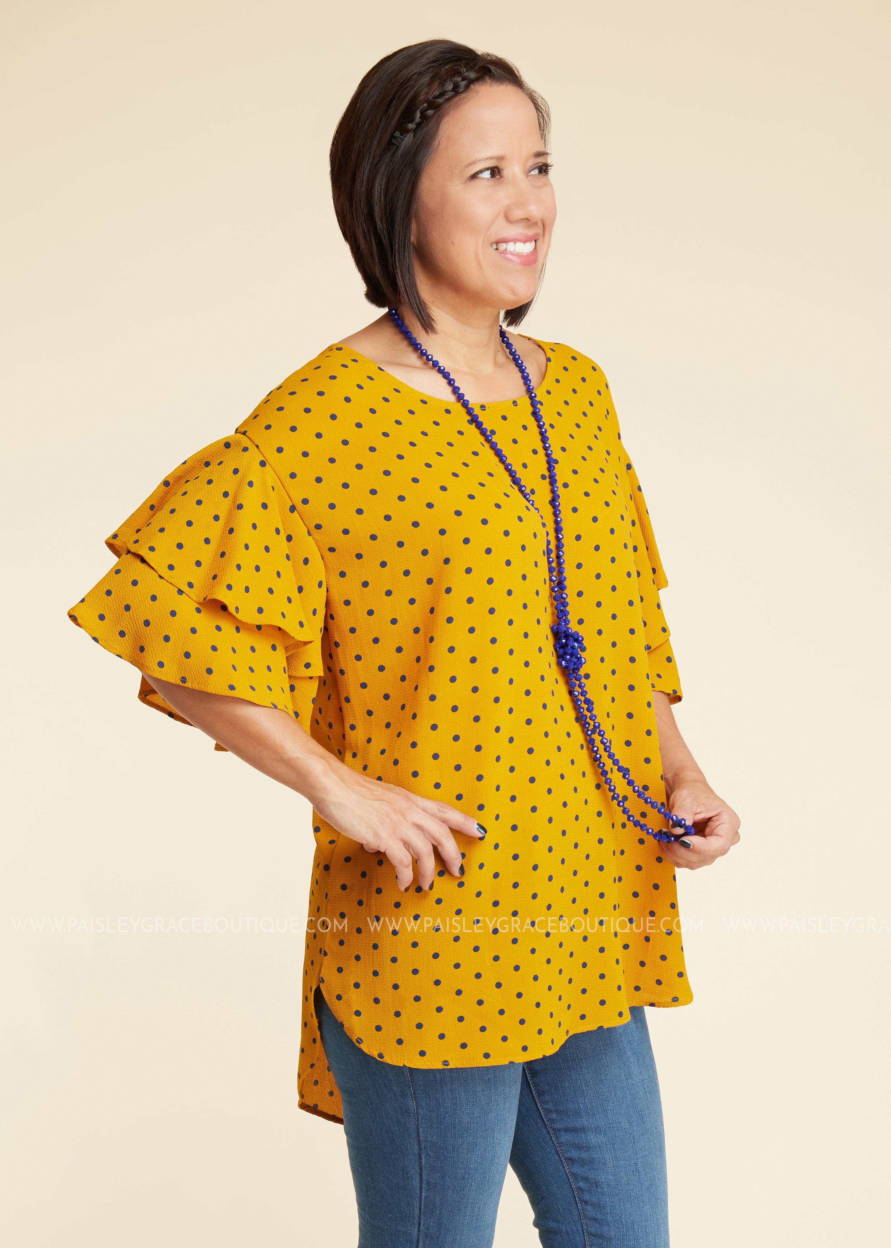 Roll The Dice Top- Mustard