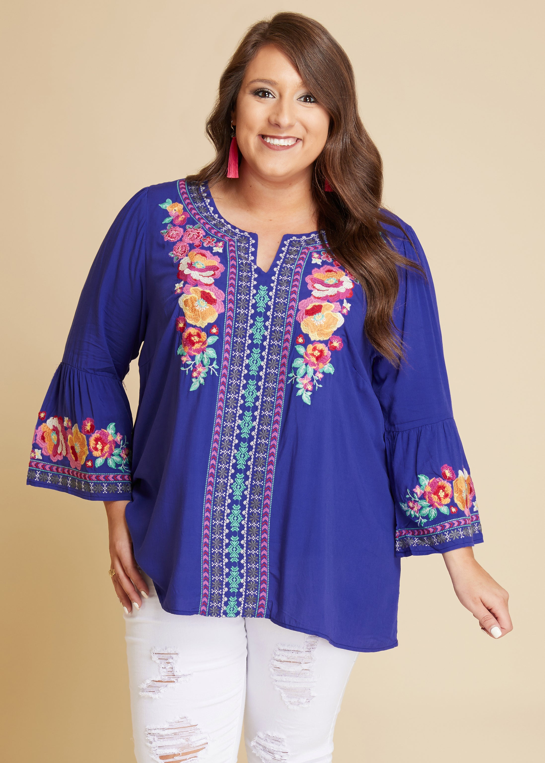 Royal Floral Embroidered Top - FINAL SALE