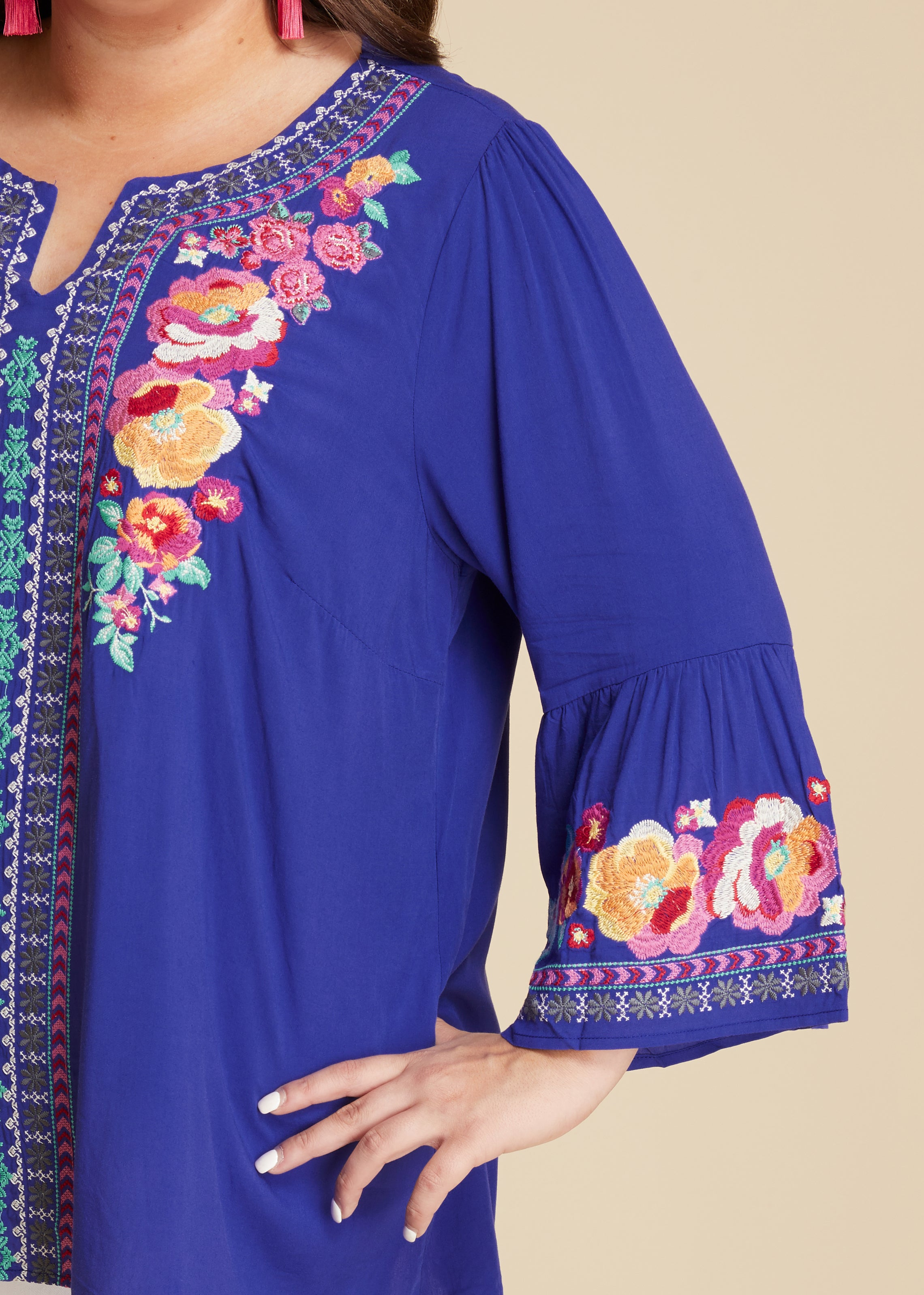 Royal Floral Embroidered Top