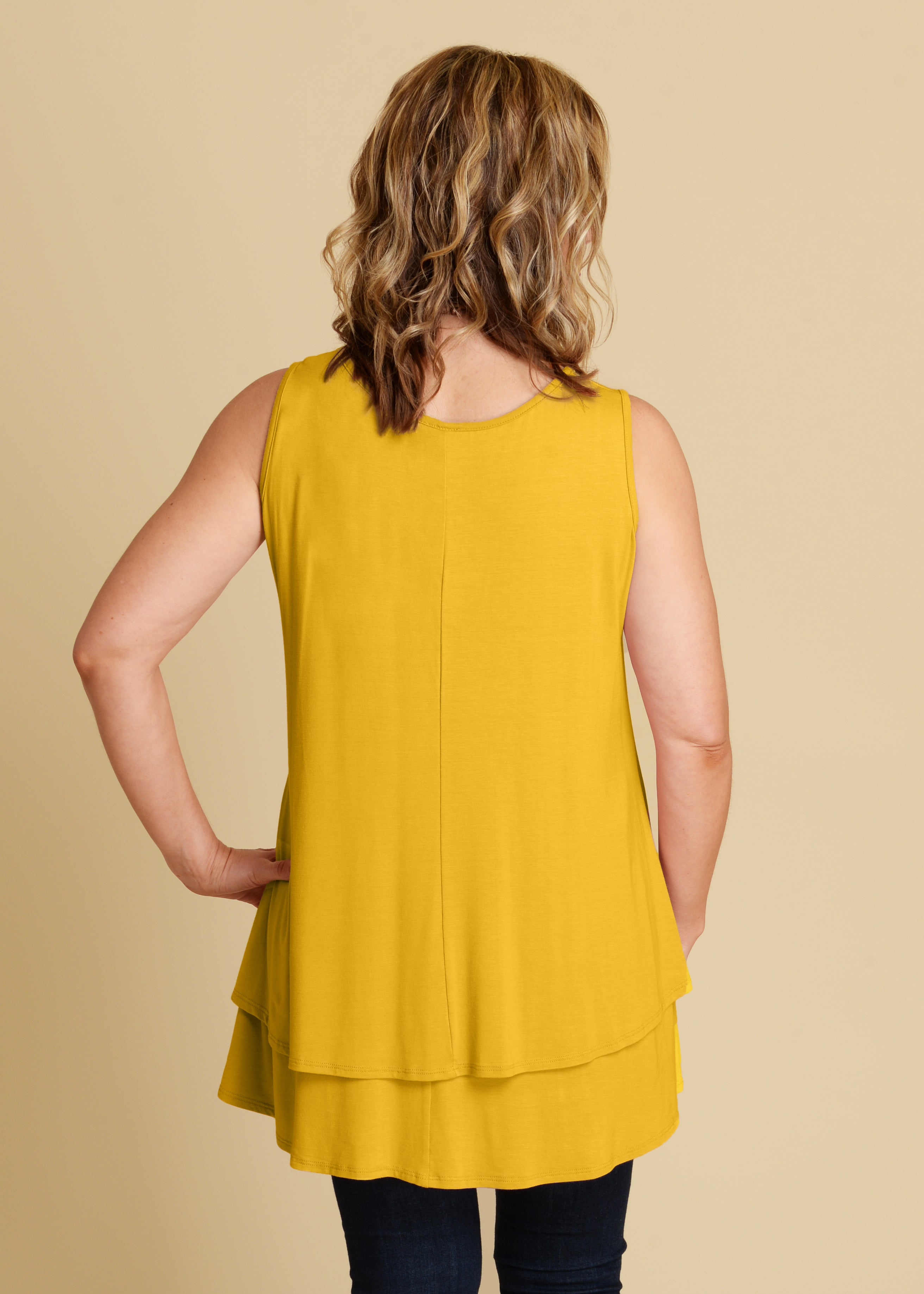 Summer Vibes Layered Tank -MUSTARD-DEAL OF THE DAY