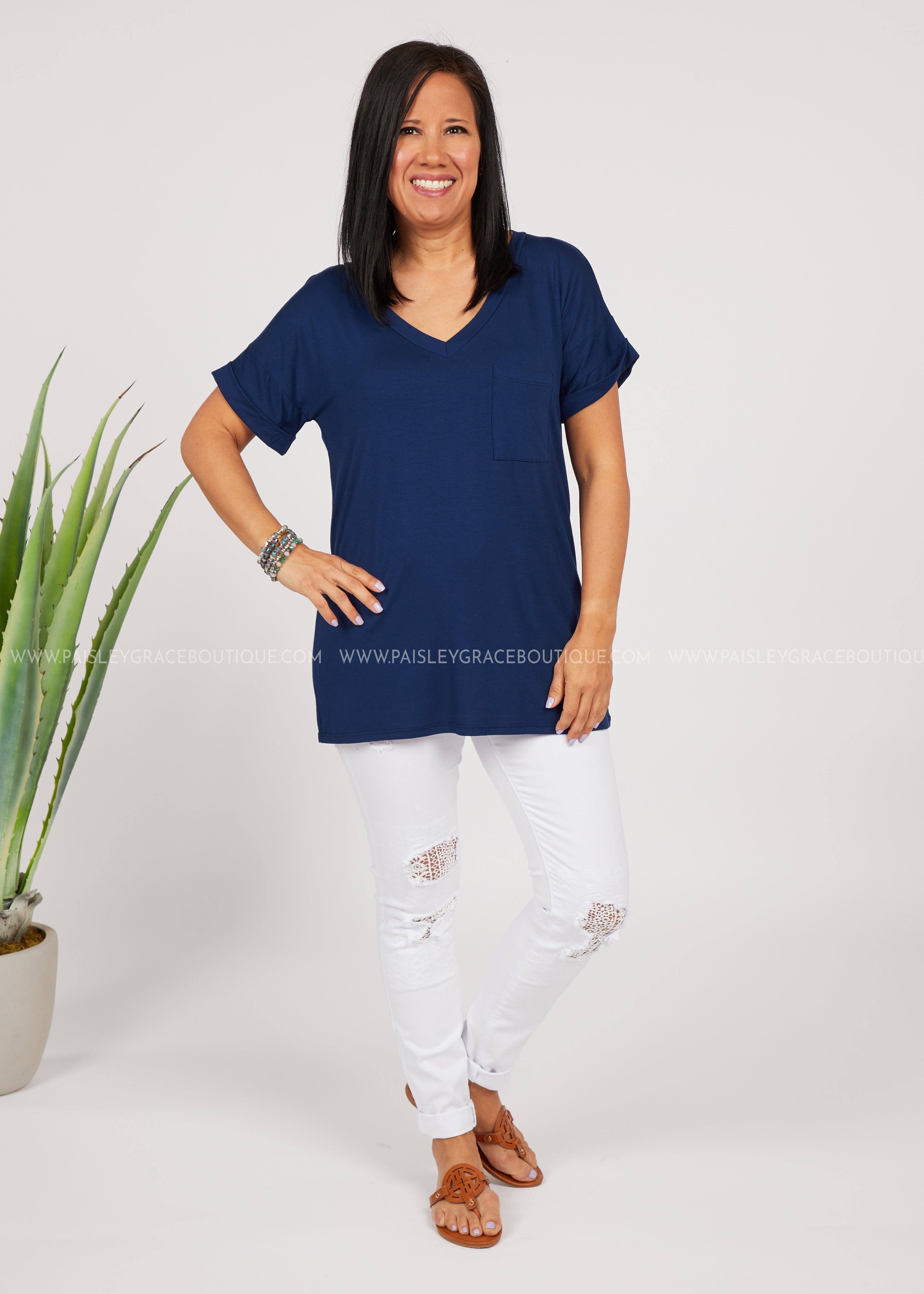Basic Needs Tee-NAVY- RESTOCK