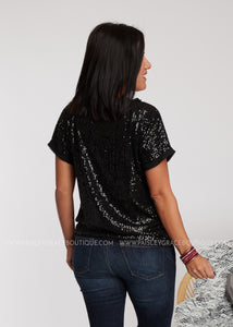 Sequins Of Events Top- Black - FINAL SALE