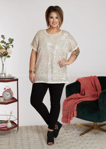 Sequins Of Events Top- Champagne - FINAL SALE
