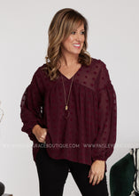 Load image into Gallery viewer, Dollop of Beauty Top- BURGUNDY - FINAL SALE