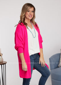 Charleigh Cardigan-HOT PINK