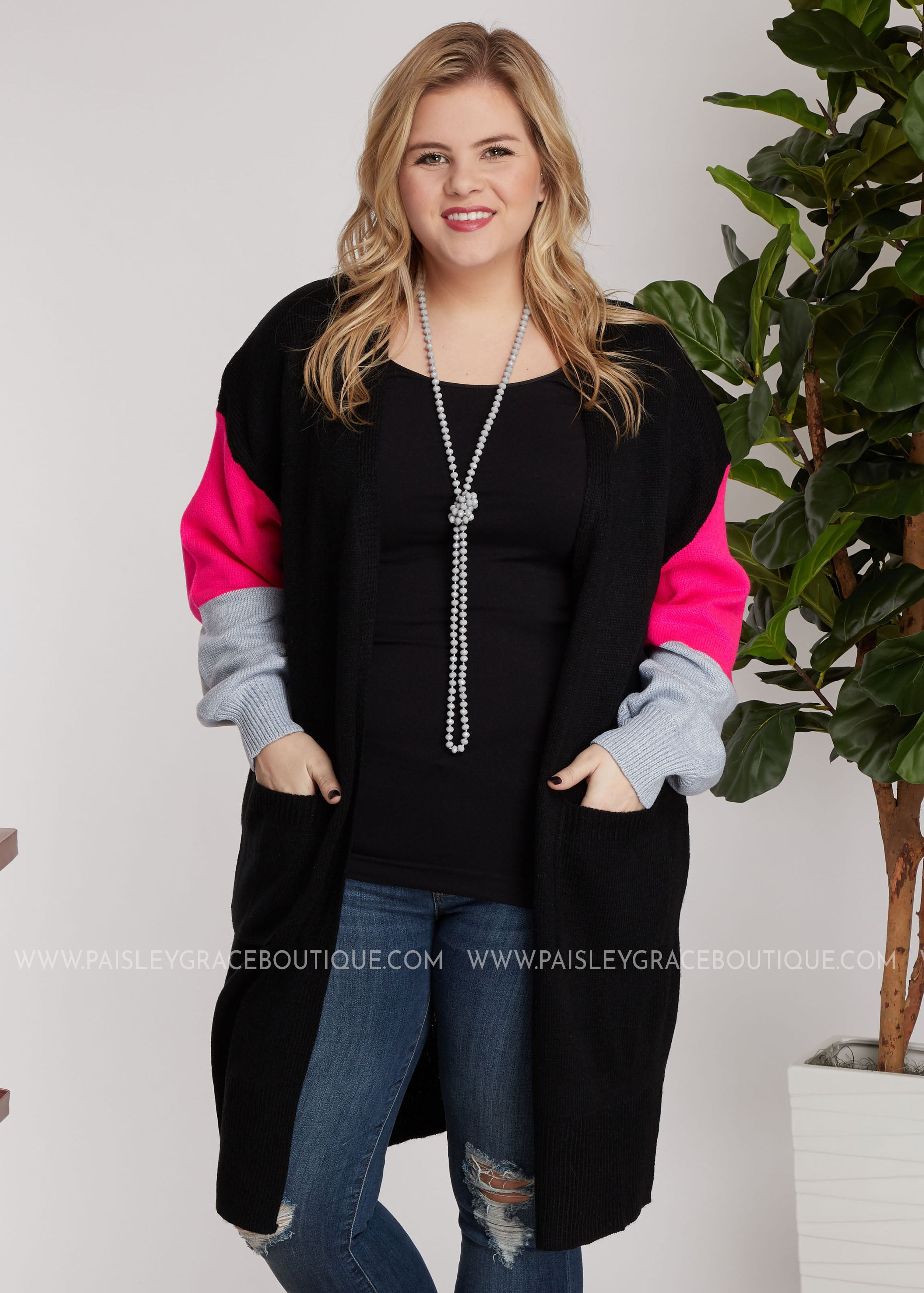 McKinney Cardigan- Black/Hot Pink - FINAL SALE