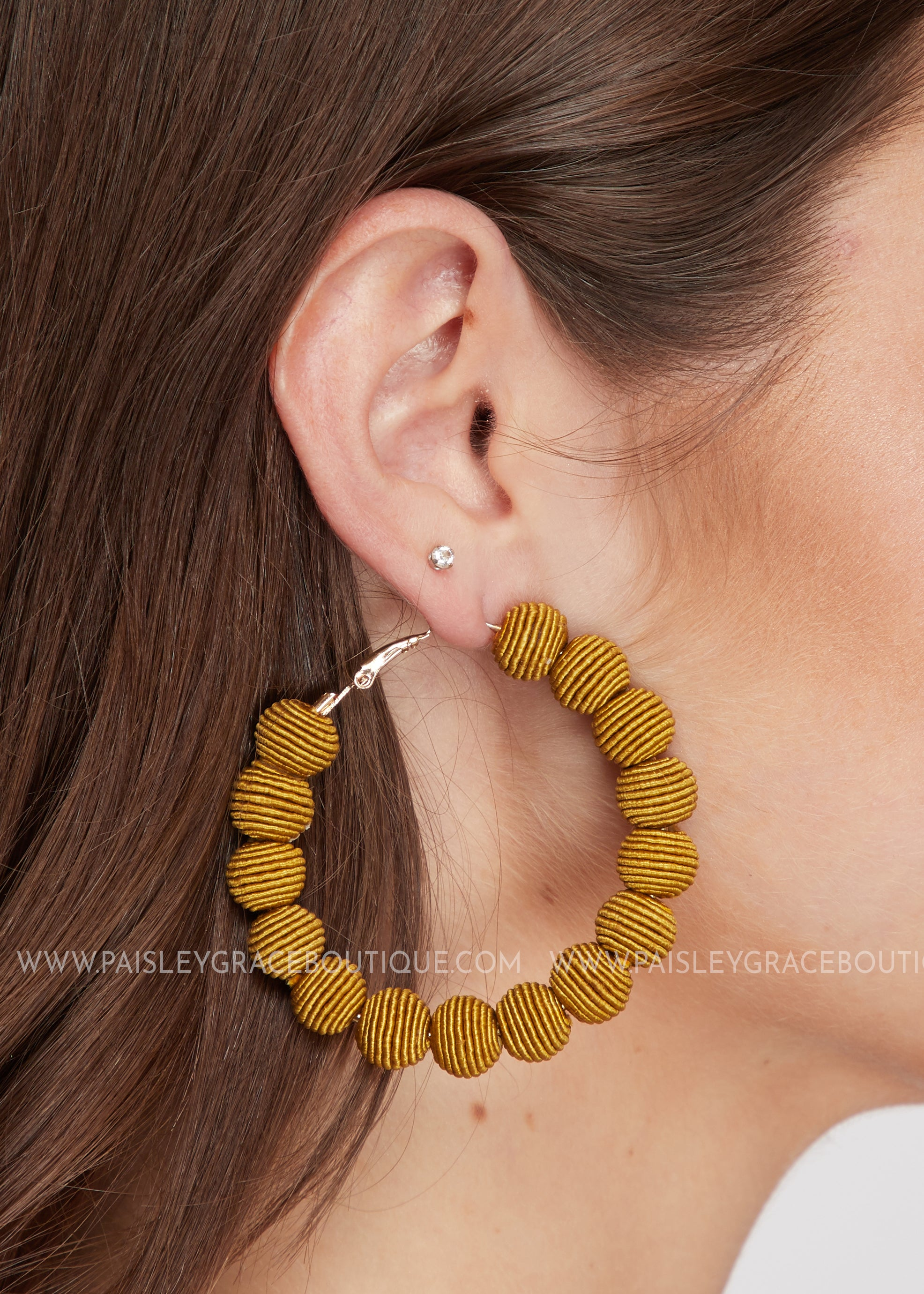 Wrapped Hoop Bead Earrings - Mustard