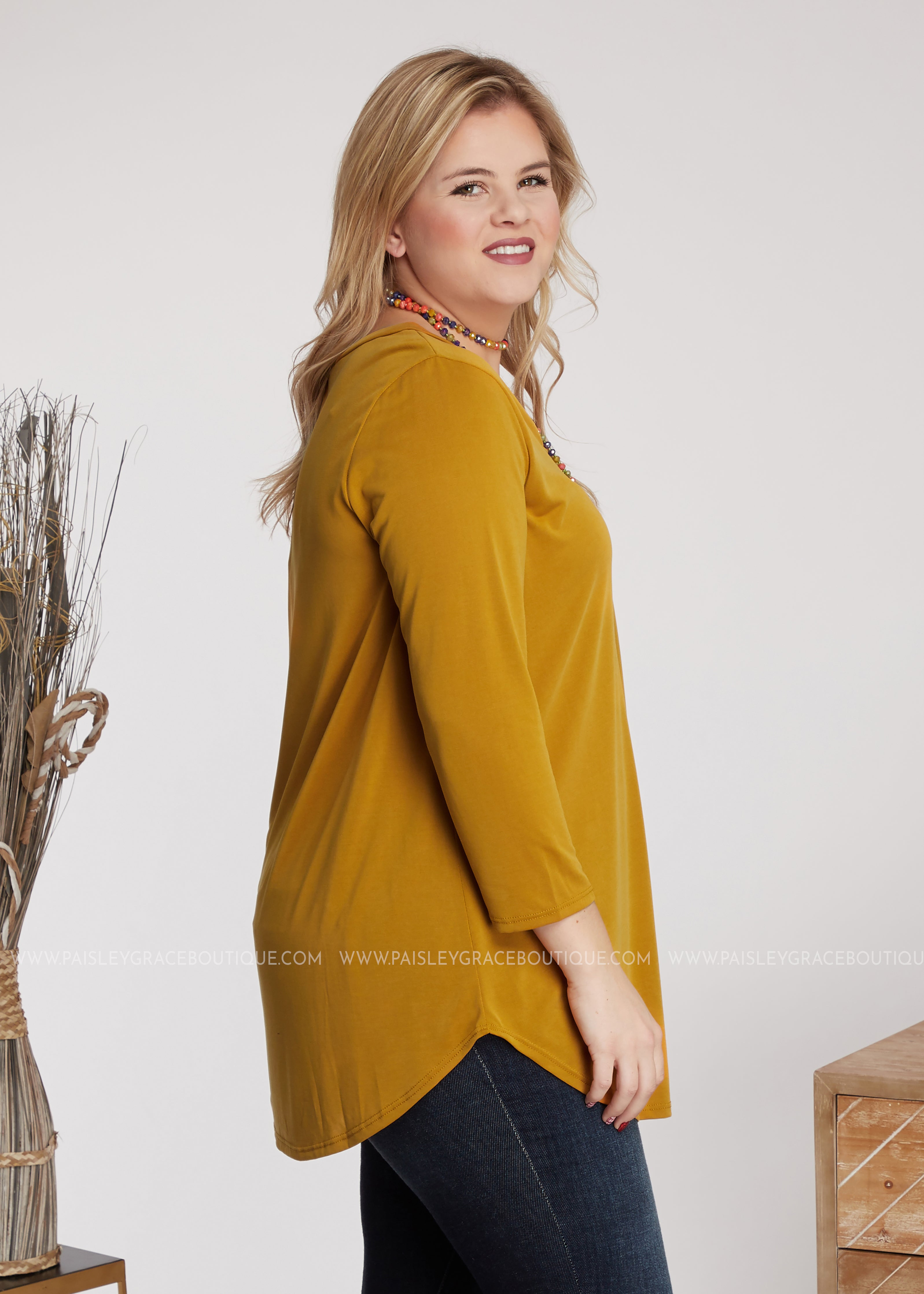 Aria Basic Top-MUSTARD - FINAL SALE