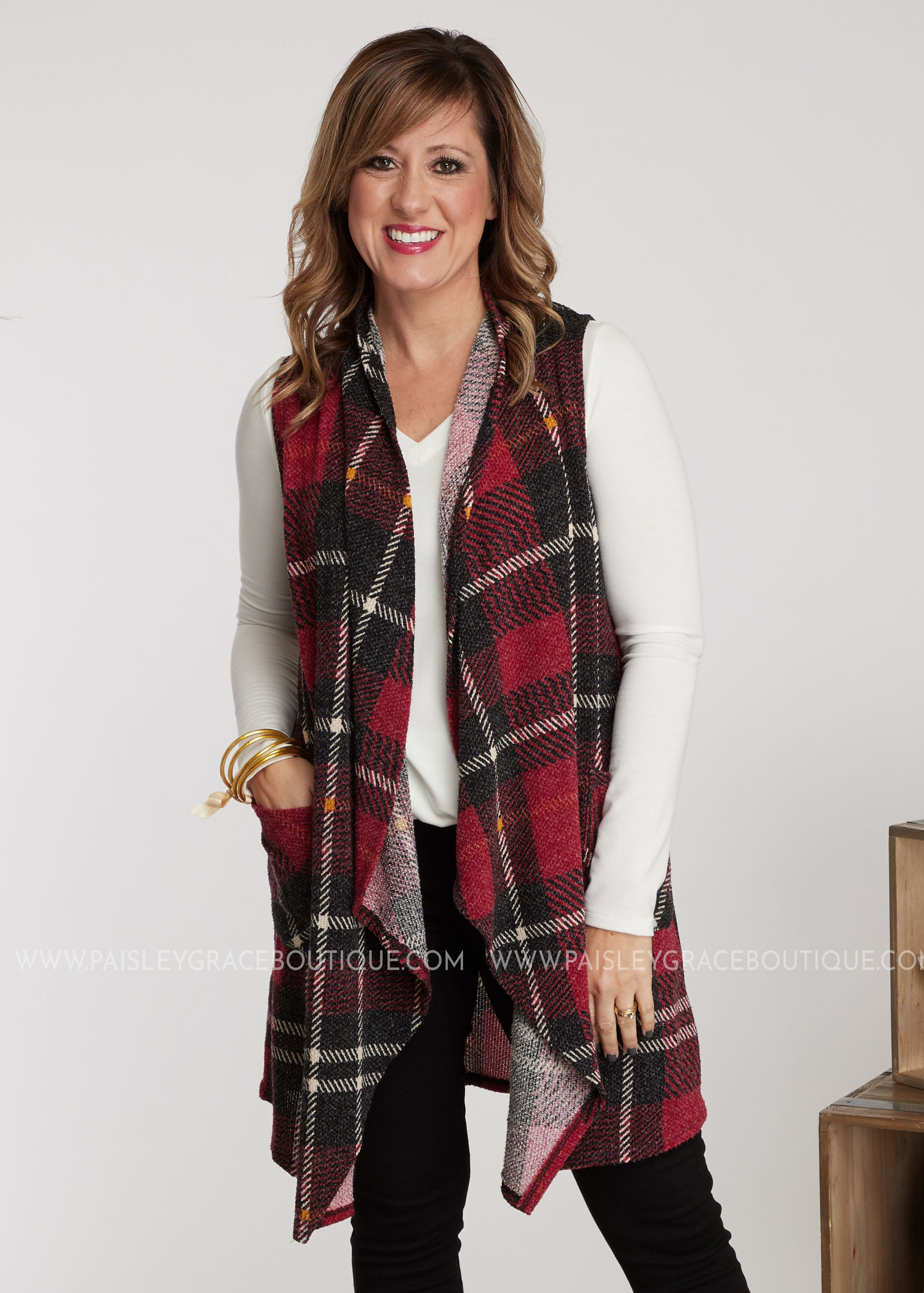 Sadie Vest-CRANBERRY - FINAL SALE