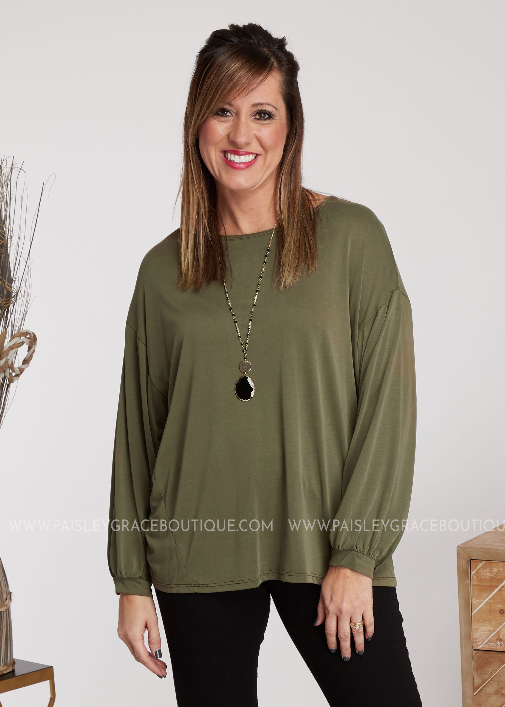 Everleigh Top- Olive - FINAL SALE