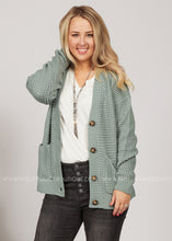 Load image into Gallery viewer, Everleigh Waffle Knit Cardigan- SAGE