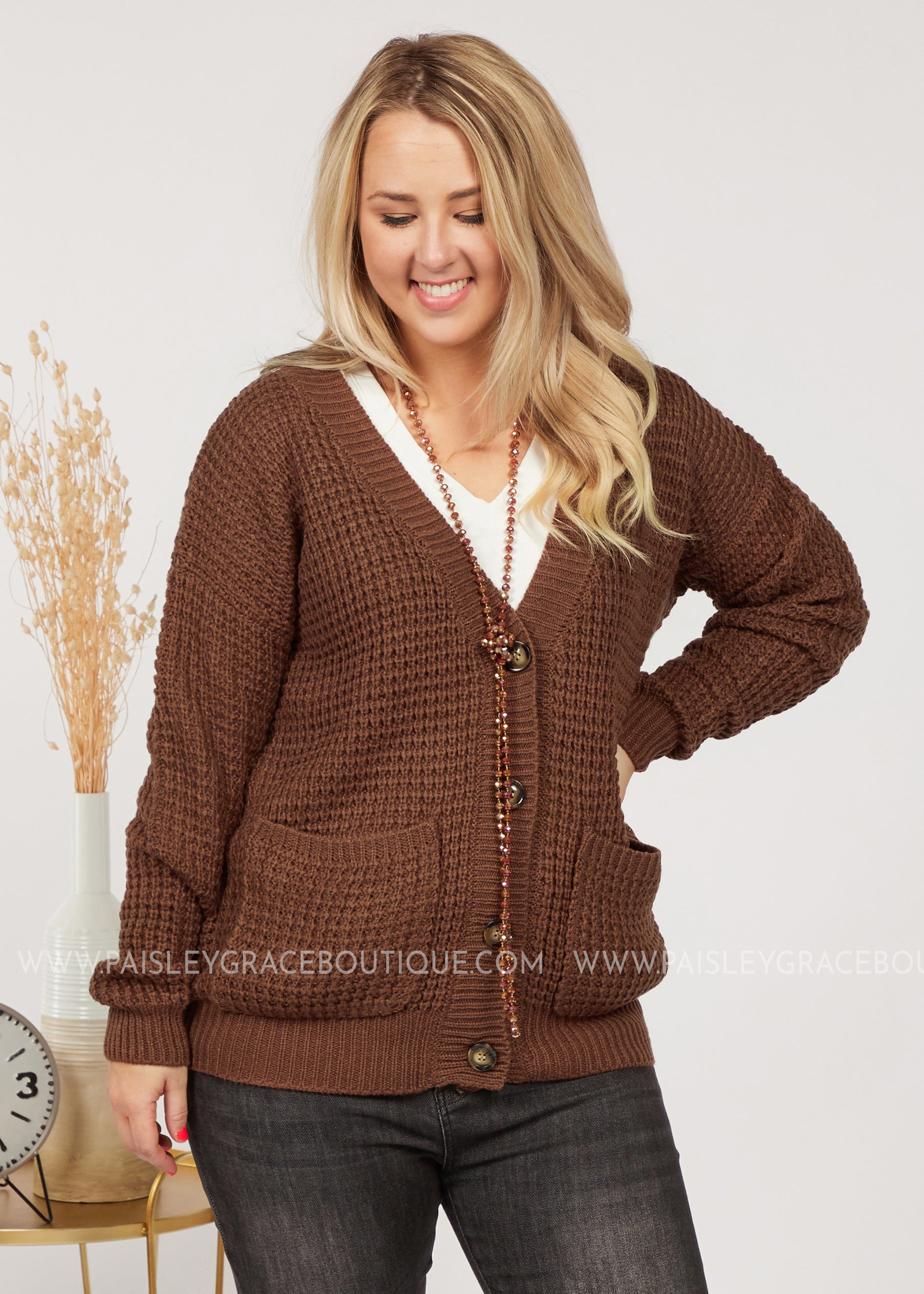 Everleigh  Waffle Knit Cardigan- BROWN