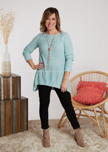 Laced With Love Sweater-ICE BLUE - FINAL SALE