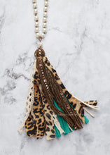 Load image into Gallery viewer, Pearl w/Leopard & Turquoise Tassel