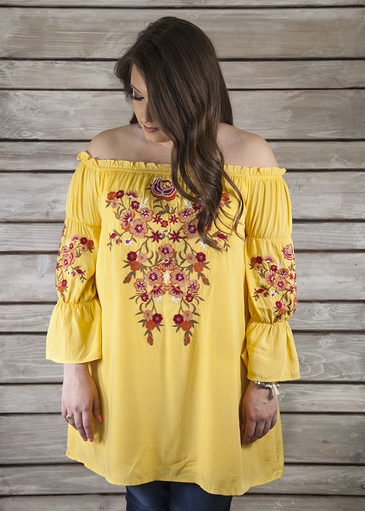 Valentina Embroidered Tunic-MARIGOLD - FINAL SALE