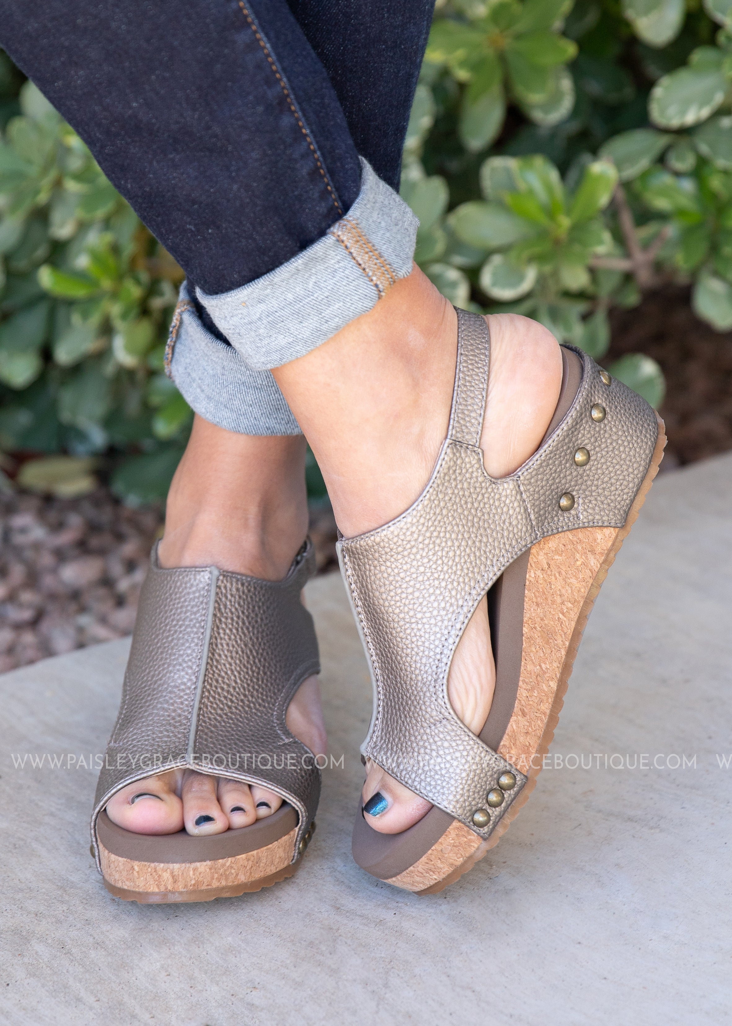 Volta Wedge Sandal by Corkys-PEWTER